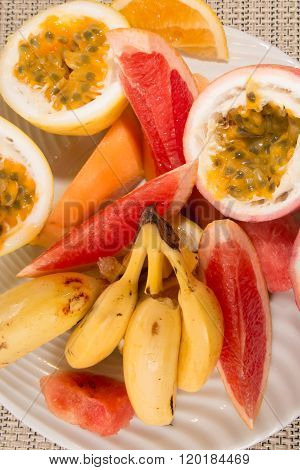 Healthy Ripe Exotic Tropical Fruit With Bananas, Passion Fruit