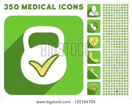Valid Mass Icon and Medical Longshadow Icon Set