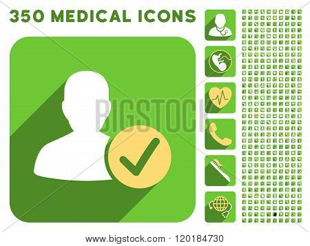 Valid User Icon and Medical Longshadow Icon Set