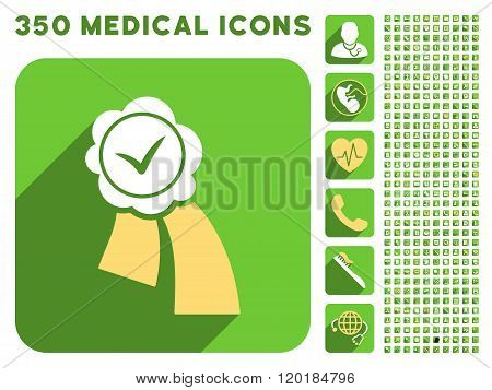 Validation Seal Icon and Medical Longshadow Icon Set