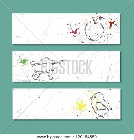Isolated Advertising Banner In Paper Style With Colorful Watercolor Stains. Farming Livestock And Ho