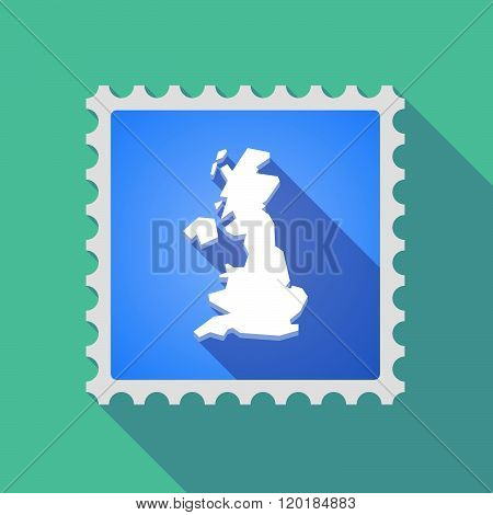 Long Shadow Mail Stamp Icon With  A Map Of The Uk