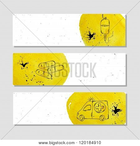Isolated advertising banner in paper style with colorful watercolor stains. Medical drugs and dietary supplements for health blood transfusion and ambulance. Vector illustration