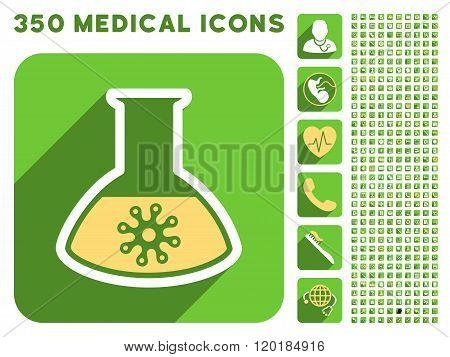 Virus Analysis Icon and Medical Longshadow Icon Set