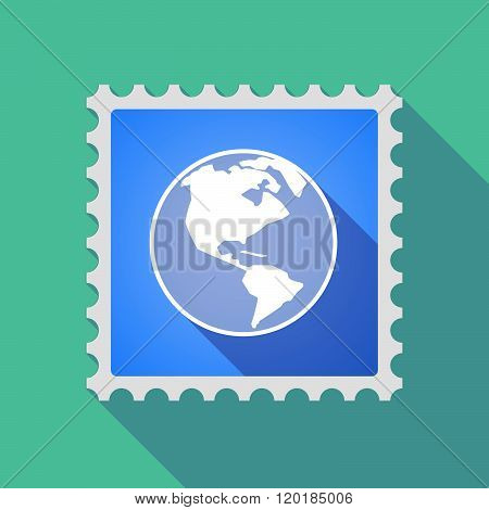Long Shadow Mail Stamp Icon With An America Region World Globe