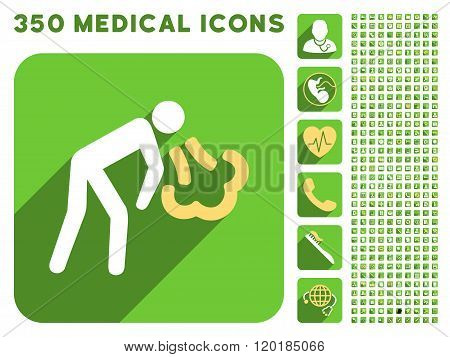 Vomiting Person Icon and Medical Longshadow Icon Set