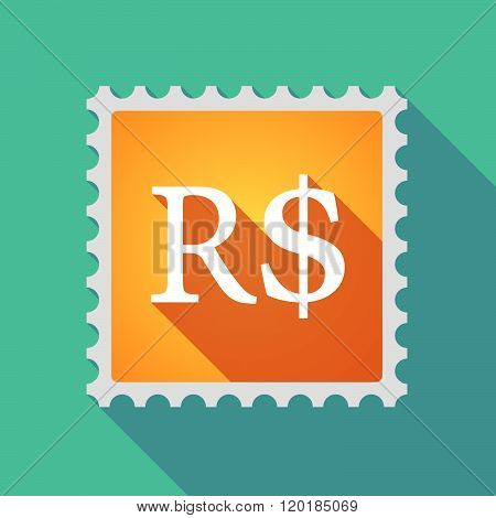 Long Shadow Mail Stamp Icon With A Brazillian Real Currency Sign