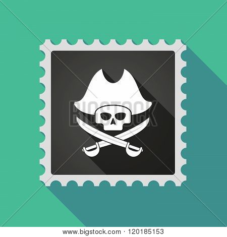 Long Shadow Mail Stamp Icon With A Pirate Skull