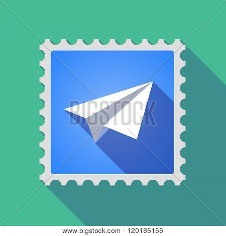 Long Shadow Mail Stamp Icon With A Paper Plane