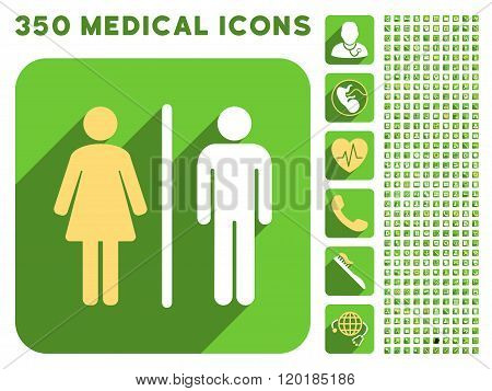 WC People Icon and Medical Longshadow Icon Set