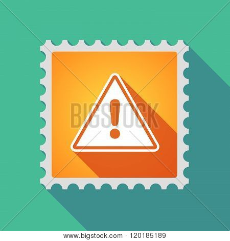 Long Shadow Mail Stamp Icon With A Warning Signal