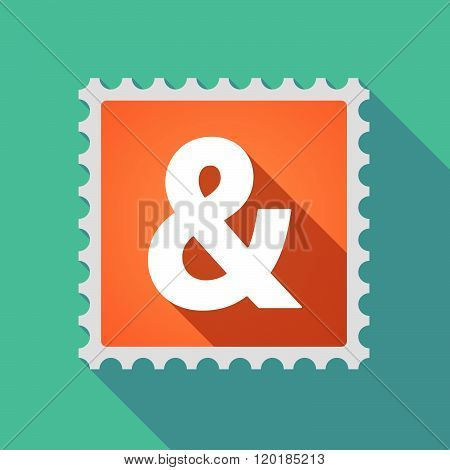 Long Shadow Mail Stamp Icon With An Ampersand