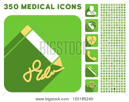 Writing Pencil Icon and Medical Longshadow Icon Set