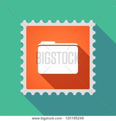 Long Shadow Mail Stamp Icon With A Folder