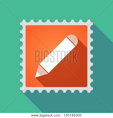 Long Shadow Mail Stamp Icon With A Pencil