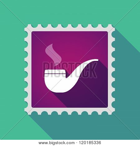Long Shadow Mail Stamp Icon With A Smoking Pipe