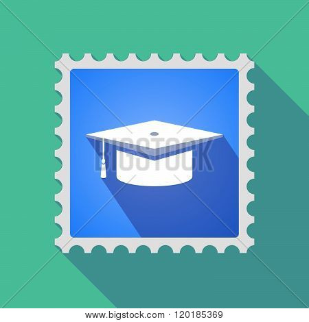 Long Shadow Mail Stamp Icon With A Graduation Cap
