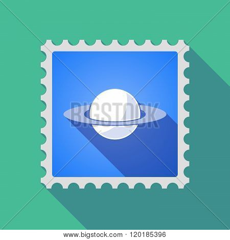 Long Shadow Mail Stamp Icon With The Planet Saturn