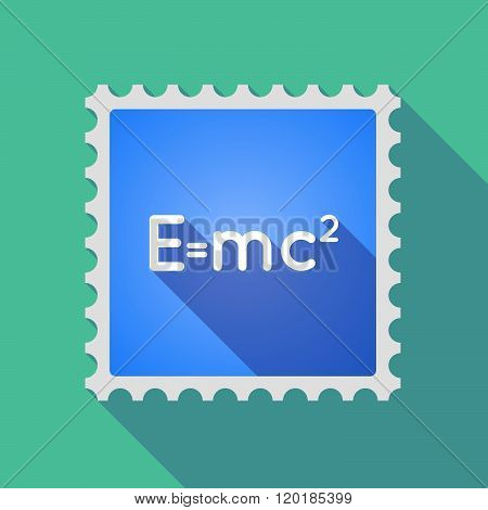 Long Shadow Mail Stamp Icon With The Theory Of Relativity Formula