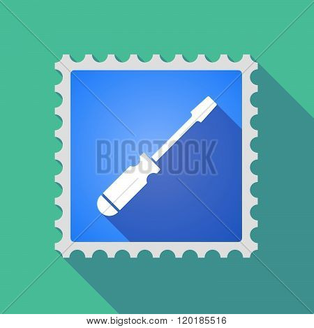 Long Shadow Mail Stamp Icon With A Screwdriver