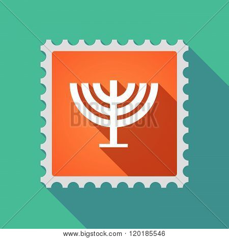 Long Shadow Mail Stamp Icon With A Chandelier