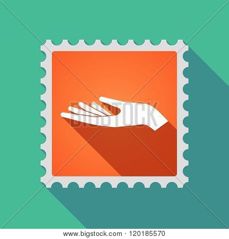 Long Shadow Mail Stamp Icon With A Hand Offering