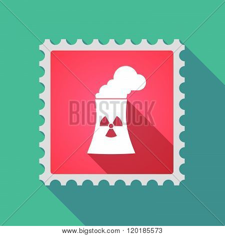 Long Shadow Mail Stamp Icon With A Nuclear Power Station
