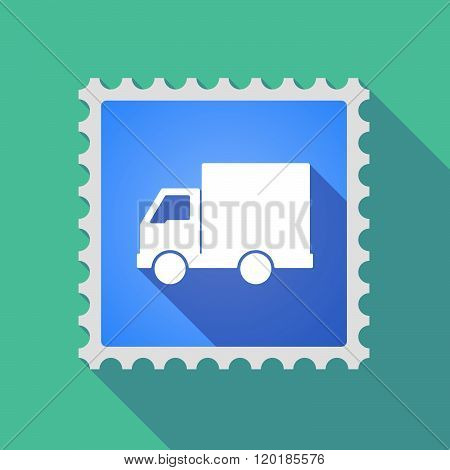 Long Shadow Mail Stamp Icon With A  Delivery Truck