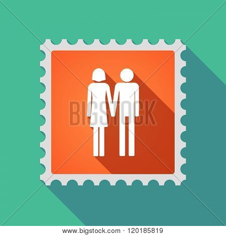 Long Shadow Mail Stamp Icon With A Heterosexual Couple Pictogram
