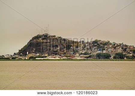 Guayas River And Hill With Houses View In Guayaquil Ecuadror