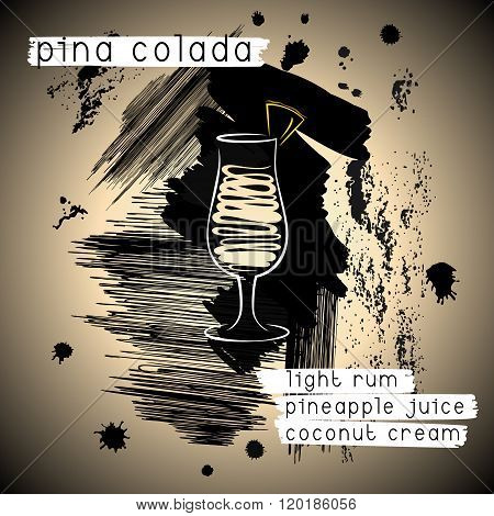 Pina Colada Cocktail In Grunge Style. Design For Promotional Flyer, Invitation, Banner Or Cocktails