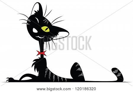 Cat Silhouette With A Red Bow
