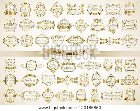 White gold framed labels - vintage style