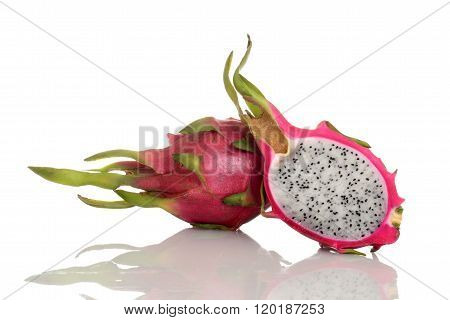 closeup of cut pitaya dragon fruit