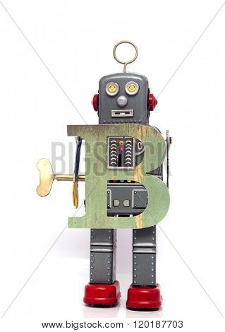 robot with letter B