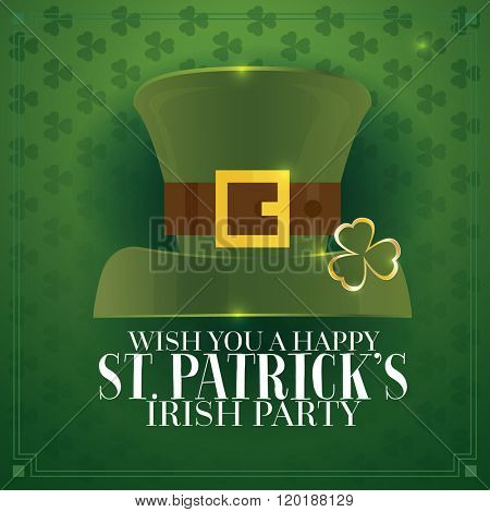 Typographic Saint Patrick's Day Retro Background with Green Hat. Template for party flyers. St. Patrick's Day poster.
