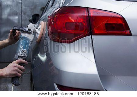 Silver Car Is Polishing