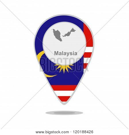 A pointer with map and flag of Malaysia