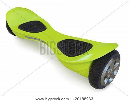 Green color hoverboard isolated on white