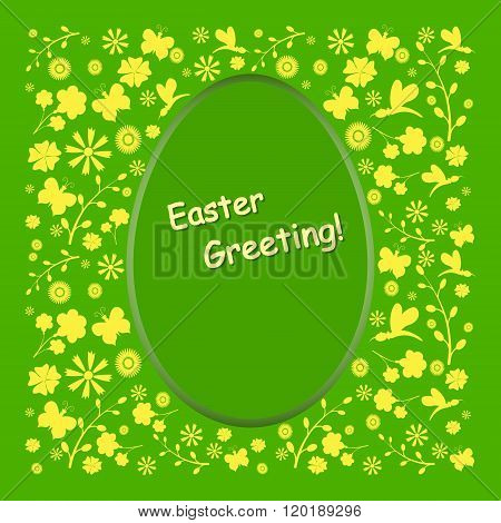 Easter Card With Yellow Silhouettes.