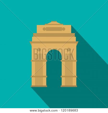 India Gate, New Delhi, India icon, flat style