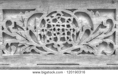 Beautiful wood carving in black and white