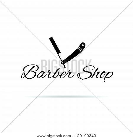 Barber Shop Icon Illustration In Black