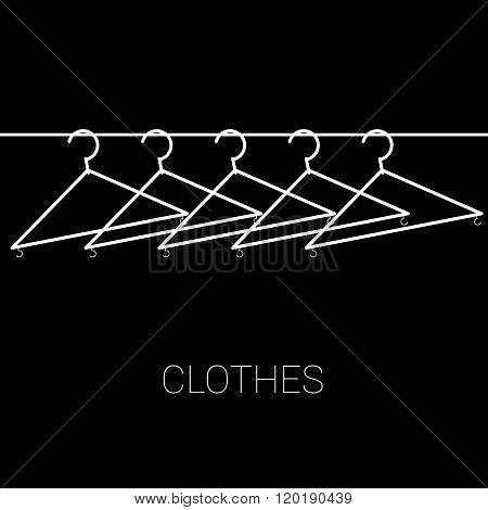 Clothes Hangers Illustration On Black