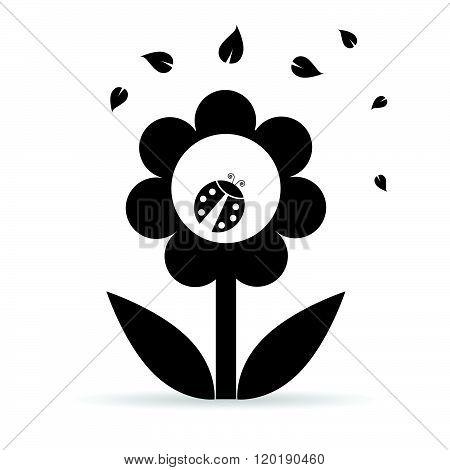 Flower With Ladybug Illustration