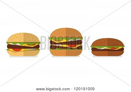 Set of different types of bread for burgers hamburgers cheeseburgers. White bread wheat bread wholegrain bread rye bread. Vector burger icons. Menu design elements.