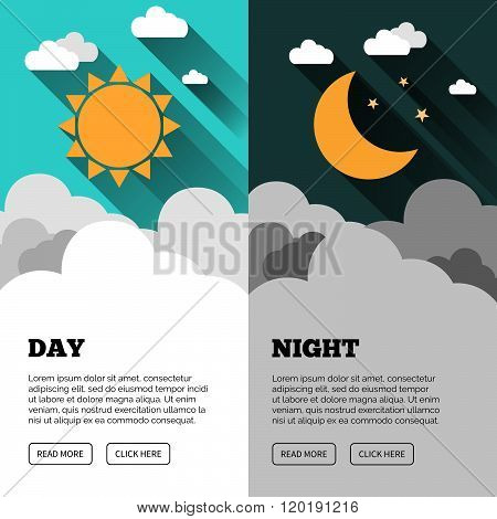 Sun moon stars and clouds banner. Day and night time vector concept banner. Sunny Day flyer. Star Moon Night flyer. Vector background. Forecast concept banner.