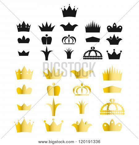 Gold Crown Clip Art Vector Set.