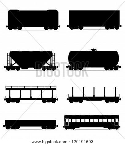 Set Icons Railway Carriage Train Black Outline Silhouette Vector Illustration