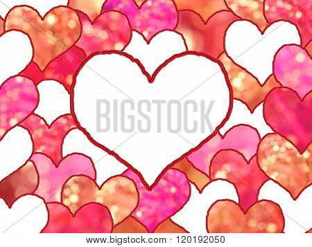 Background With Love Hearts In Shades Of Red
